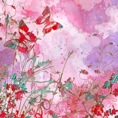 Artistic pink background in grunge style with butterflies