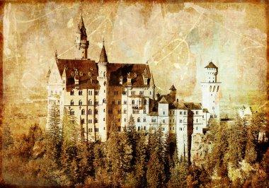 Neuschwanstein castle - picture in retro style