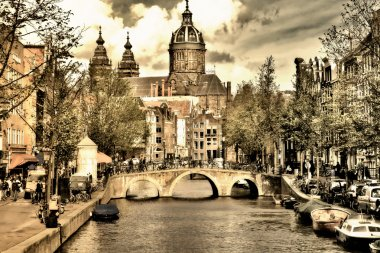 Beautiful Amsterdam canals - picture in retro style