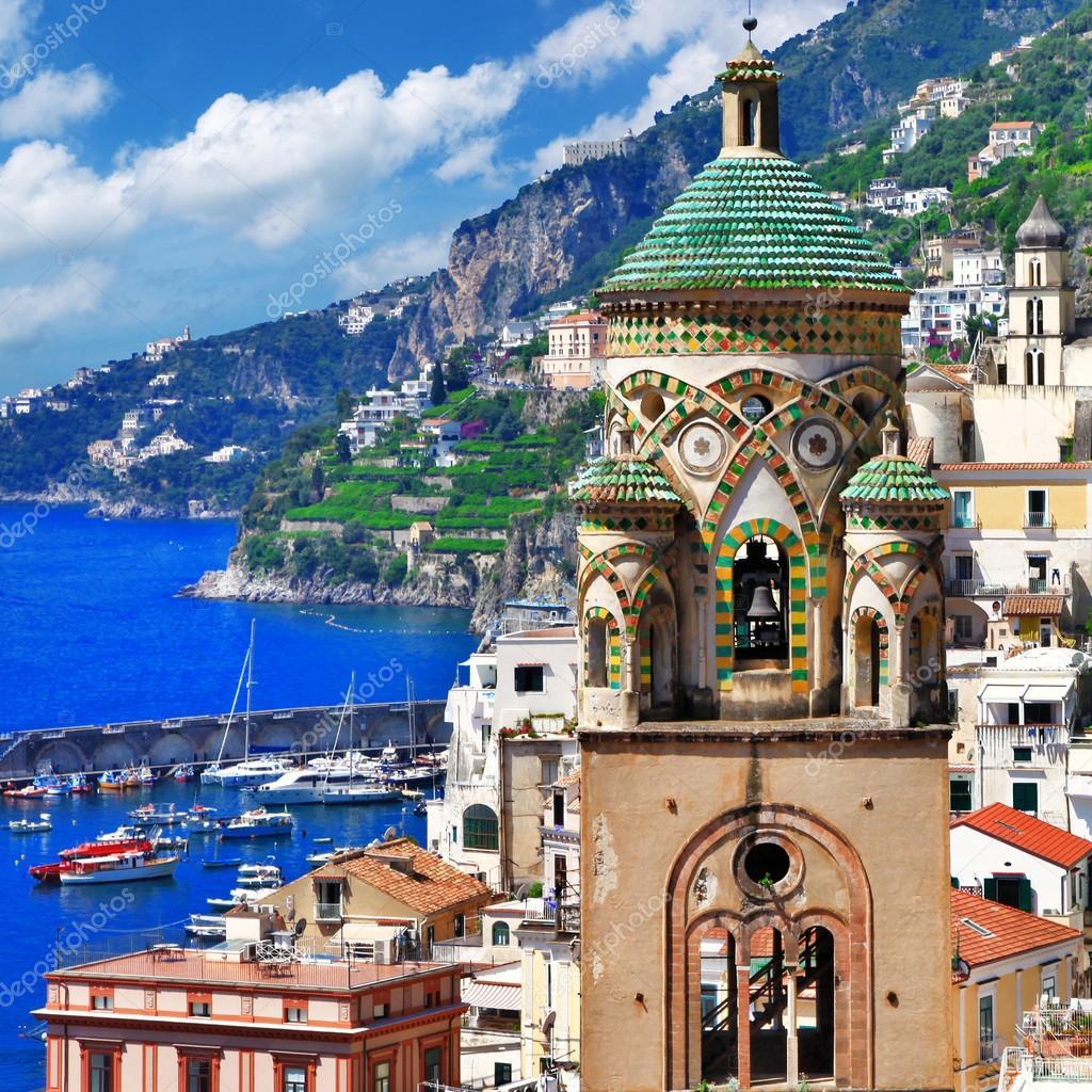 Architecture of beautiful Amalfi, view with church