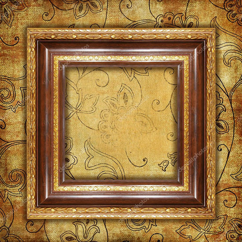 Carved Gilded Frame Over Old Wallpaper Stock Photo Maugli 12767919