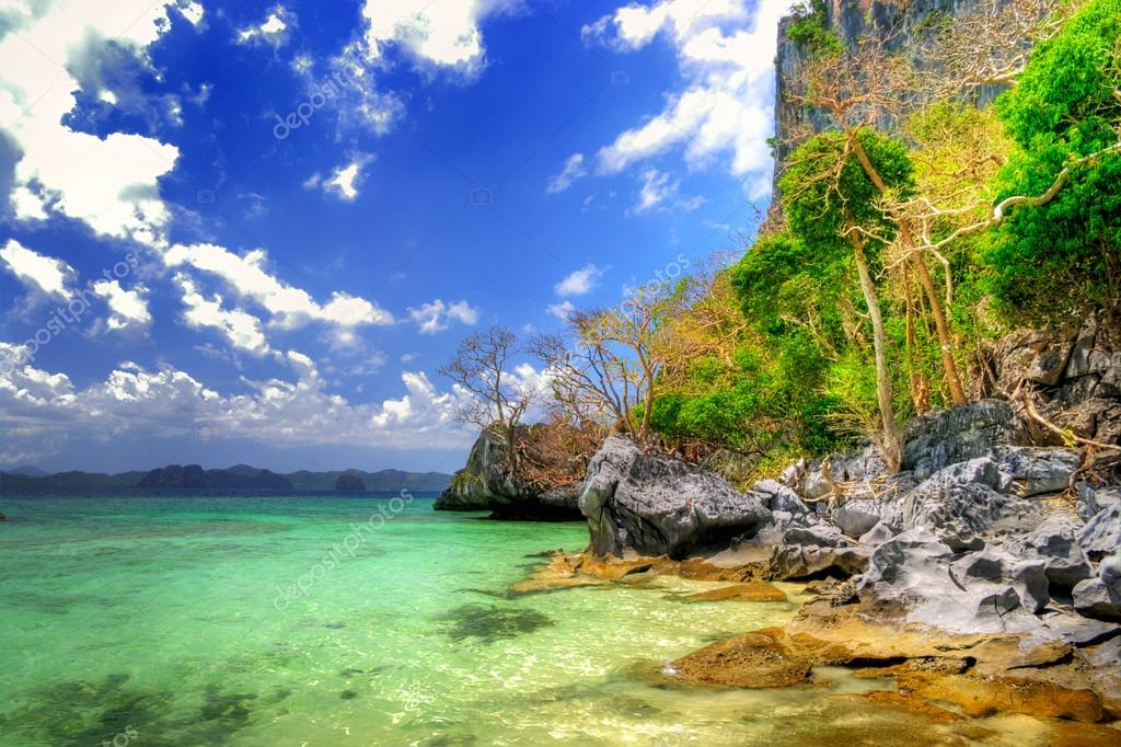 Pictorial scene of rocky tropical beach