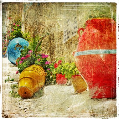Pictorial details of Greece - decoration with vases and flowers in taverna- retro styled picture