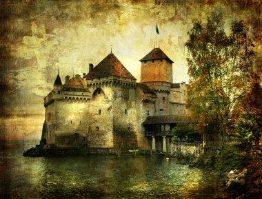 """Картина, постер, плакат, фотообои """"загадочный замок на озере - произведения искусства в стиле живописи """", артикул 12795831"""