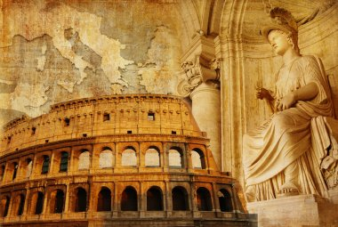 Old Rome - conceptual collage in retro style