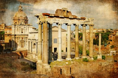 Roman forums - picture in retro style