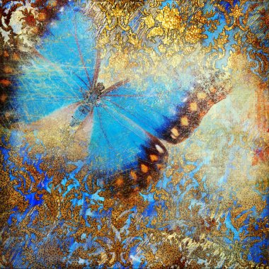 Mottled vintage background with butterflies