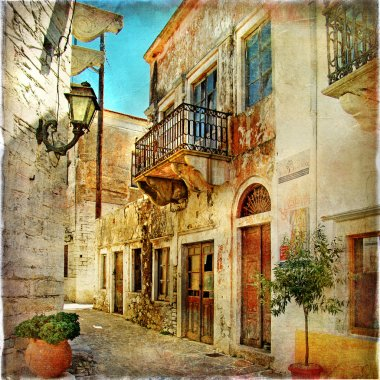 Old pictorial streets of Greece - artistic picture stock vector