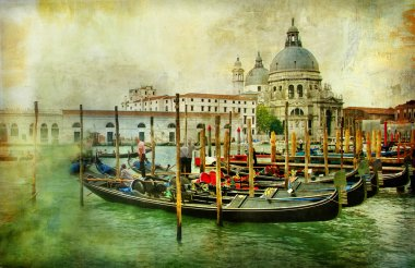 Grand canal with gondolas - artistic retro styled picture