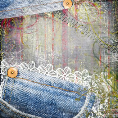 Vintage background from jeans and lace