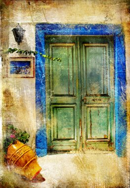 Pictorial details of Greece - old door - retro styled picture