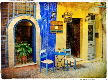 Colors of Greece - old streets of Crete - retro styled picture