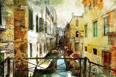 """Картина, постер, плакат, фотообои """"Живописные венецианские улицы - работа в живописи стиль"""", артикул 12798817"""