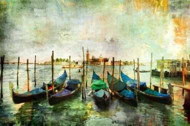Gondolas - beautiful Venetian pictures - oil painting style