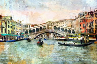 Rialto bridge - Venetian picture - artwork in painting style