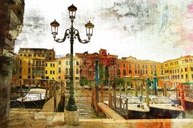Venice on sunset - artwork in painting style
