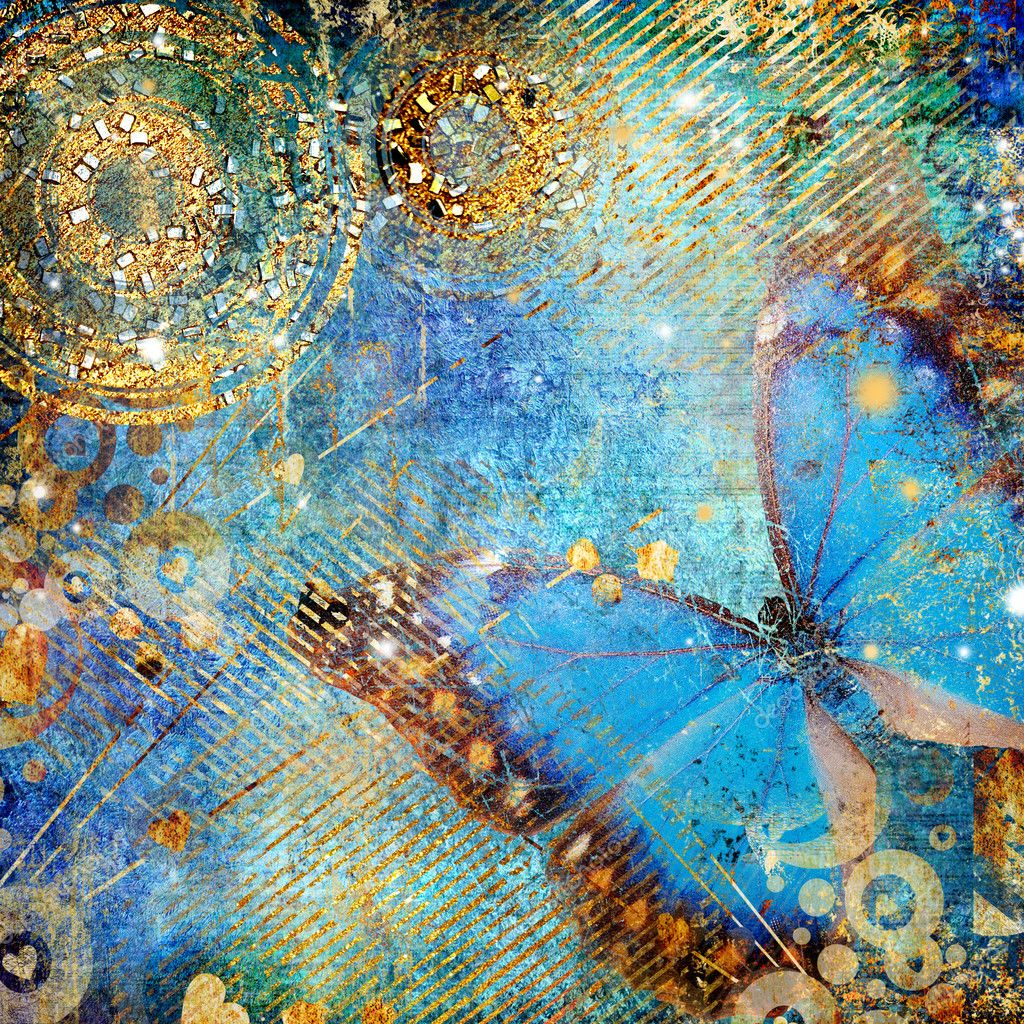 Artistic messy blue background with butterfly