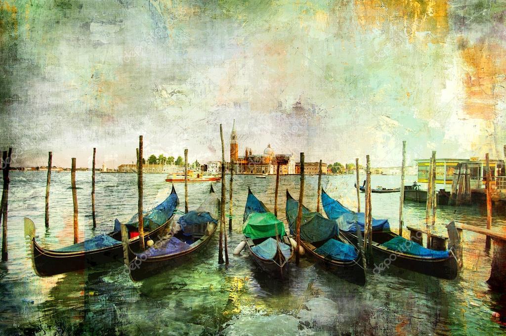 Gondolas - beautiful Venetian pictures - oil painting style
