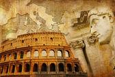 velké římské říše - koncepční koláž v retro stylu