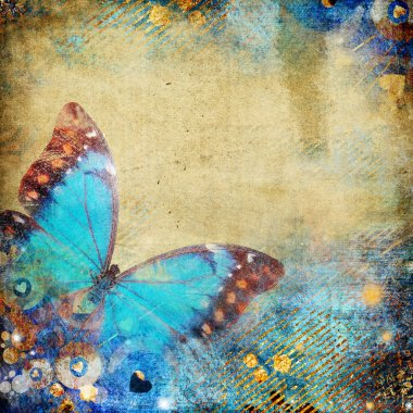 Abstract retro background with butterfly