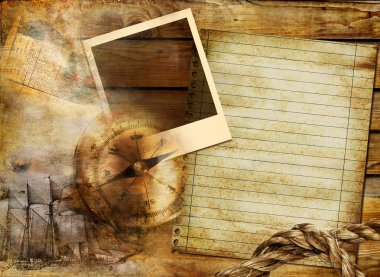 Vintage background in adventure stories style with frame and blank page