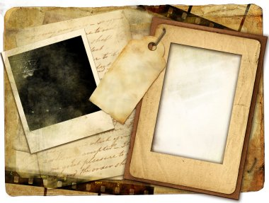 Vintage background with old letters and frames