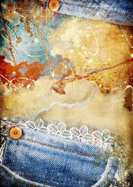 Torn vintage grunge background with denim borders