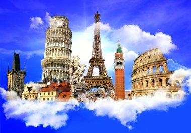 European traveling - touristic conceptual background stock vector