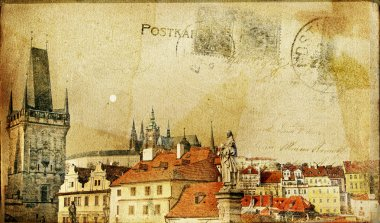 Vintage post card series- cities- Prague