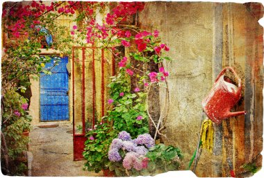 Old traditional greek doors series -retro styled picture