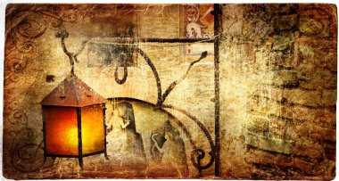 Old lantern - picture in retro style