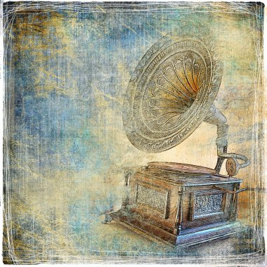Vintage background with gramophone