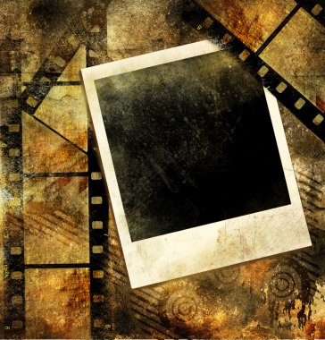 Grunge background with film strips and instant frame