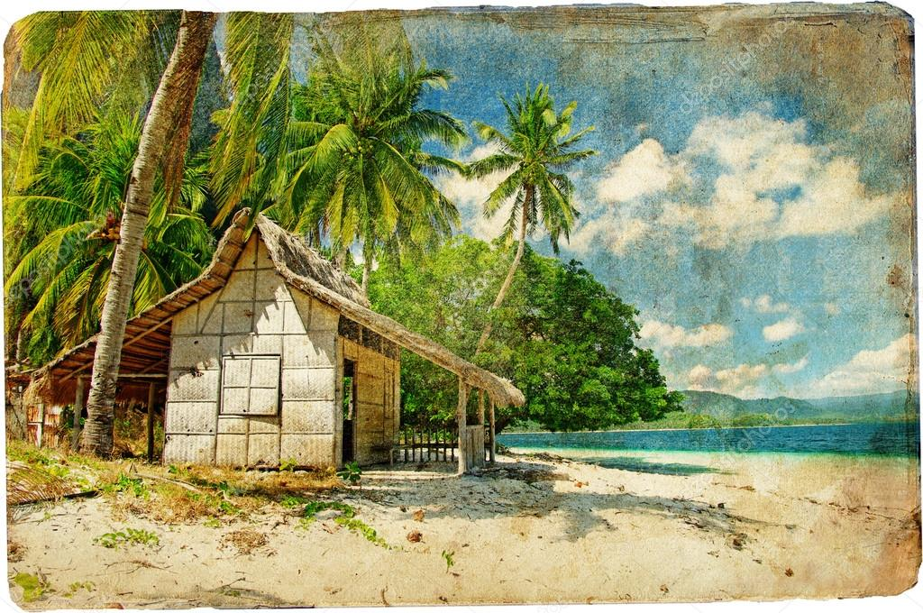 Tropical beach - vintage picture