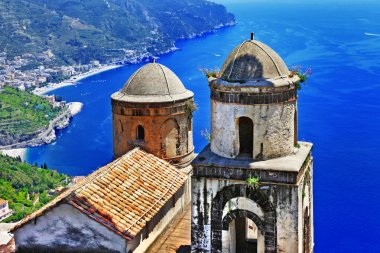 mountain village Ravello. view with old church. Amalfi coast of