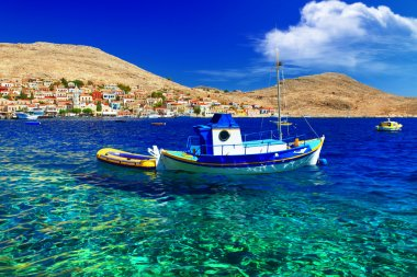 Tranquil scene of Greek islands. Halki. Dodecanese