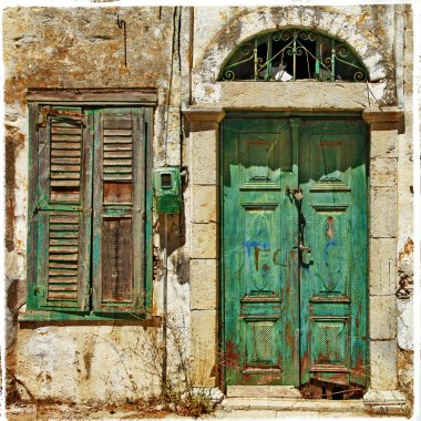 old doors. Greece