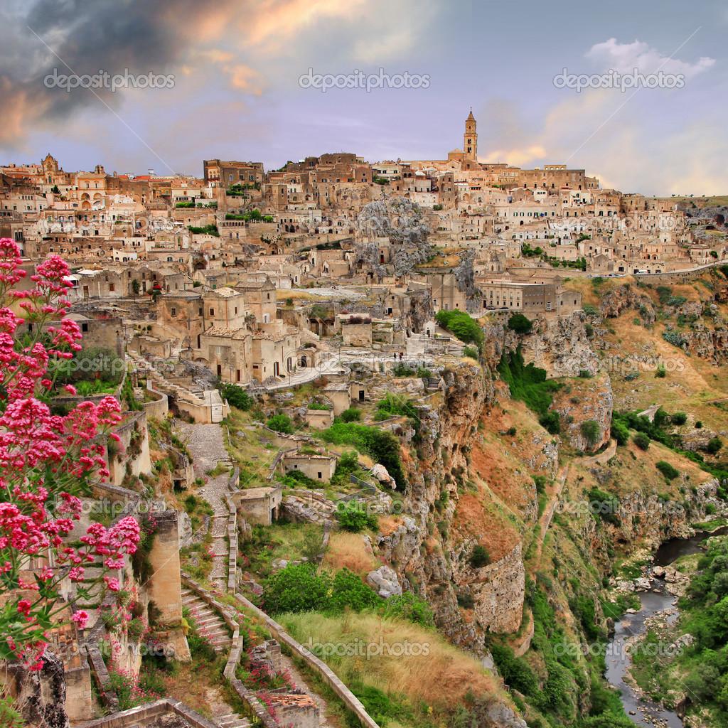 View of ancient Matera, cave city. Balsilicata, Italy