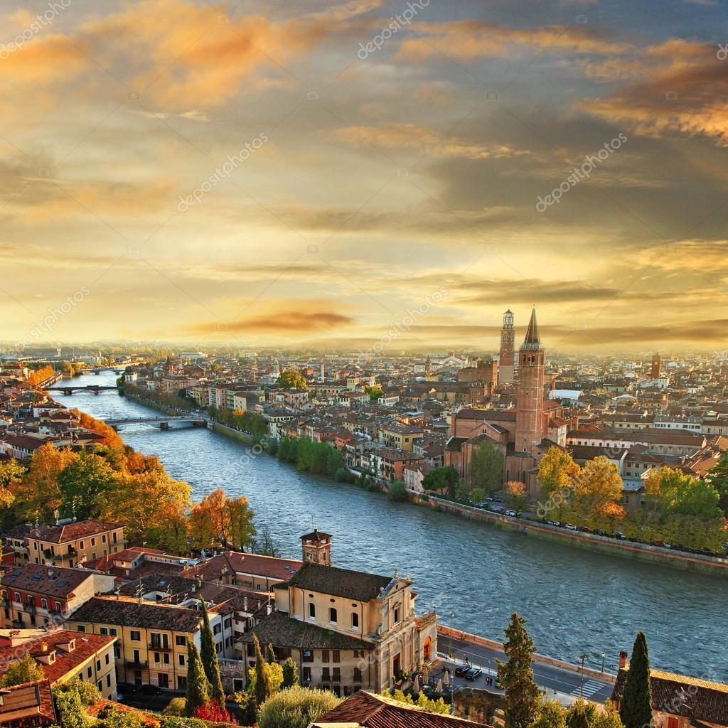 Beautiful romantic Verona on sunset.