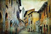 Fotografie mittelalterliche Toskana. Straßen von San gimignano