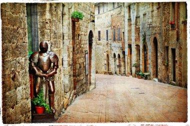 medieval Tuscany. Streets of San Gimignano, artistic vintage pic