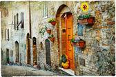 Fotografie charmanten alten Gassen der mittelalterlichen Städte der Toskana