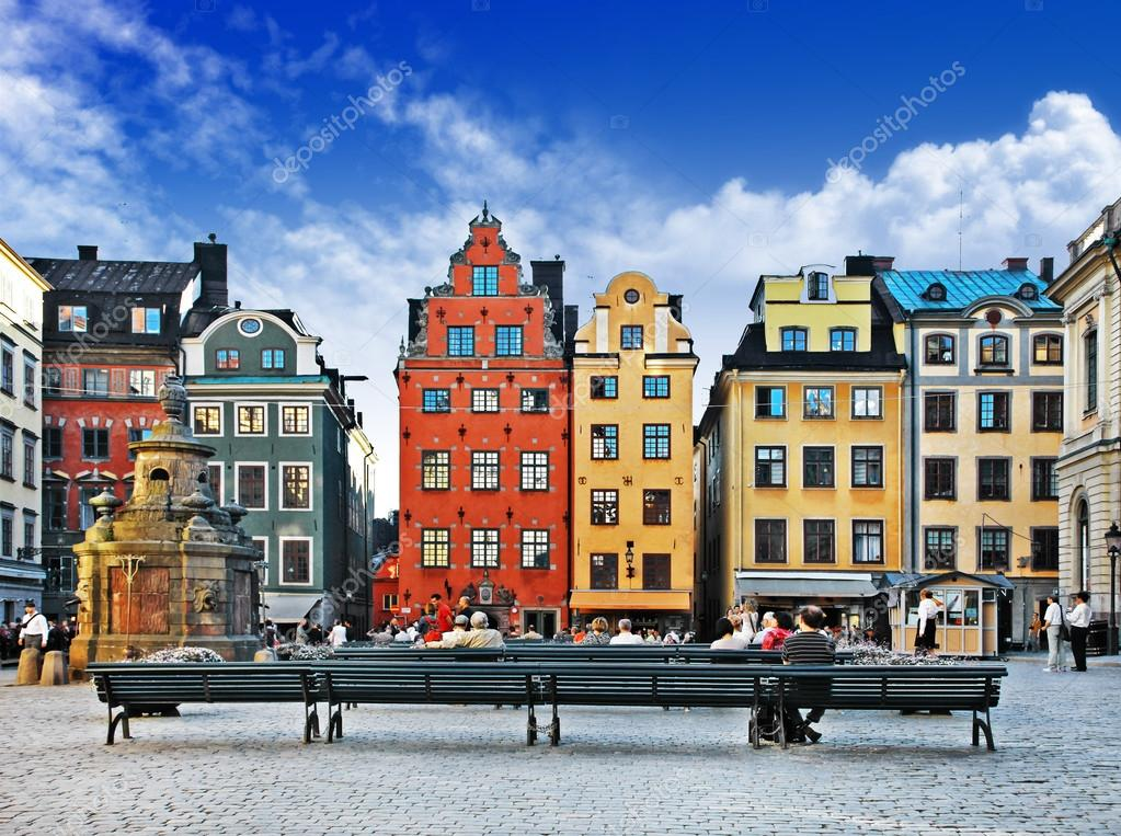 Фотообои Colorful old town of Stockholm