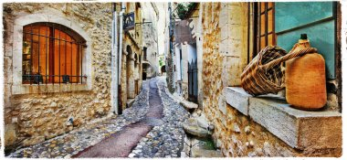 charming streets of mediterranean old villages, artwork in paint