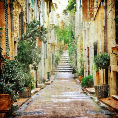 charming streets of mediterranian, artistic picture