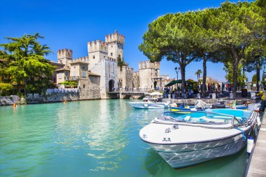medieval castle Scaliger in old town Sirmione on lake Lago di Ga