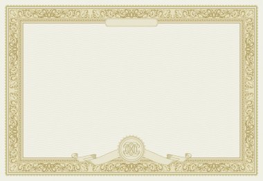 Editable vector certificate template with ornamental border stock vector