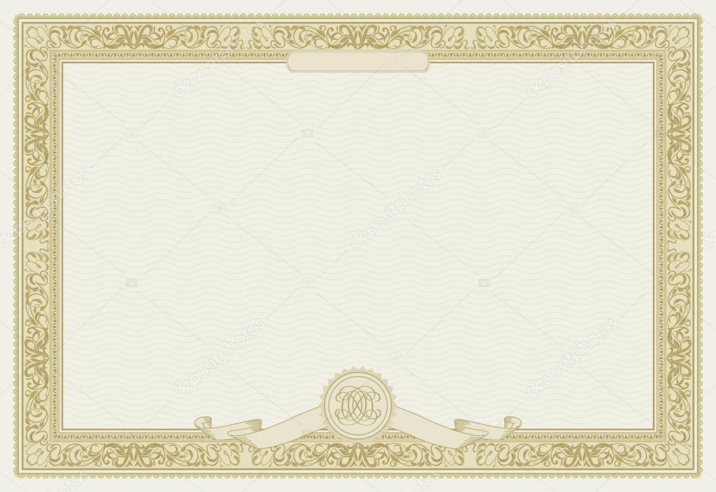 Editable vector certificate template with ornamental border