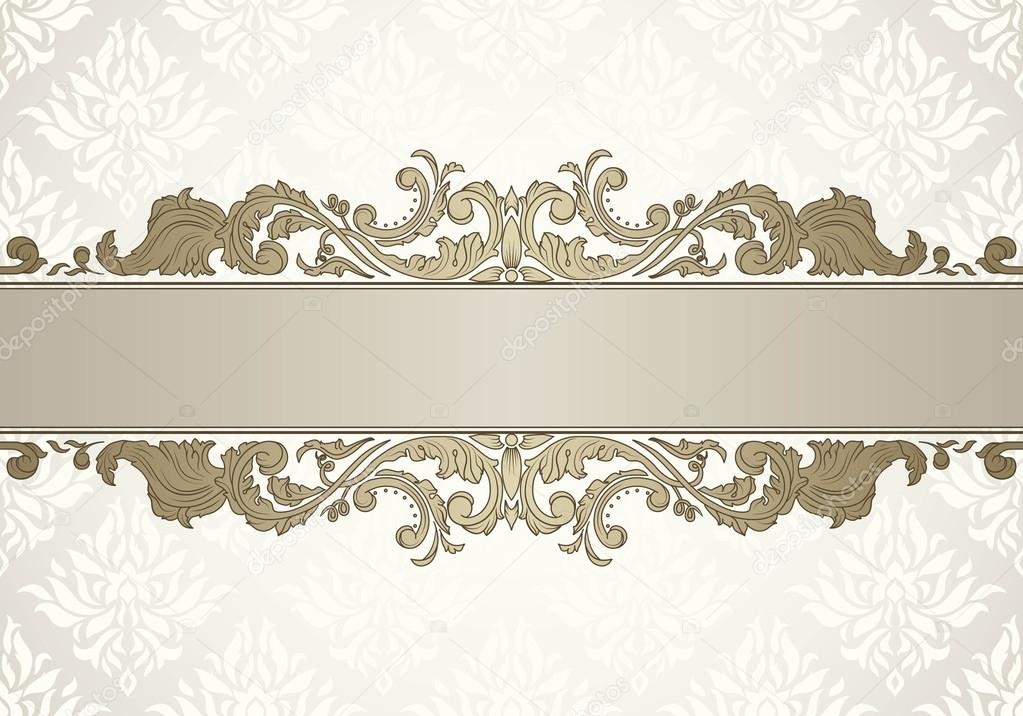 Vintage ornate frame template for text in antique style. Wedding ...