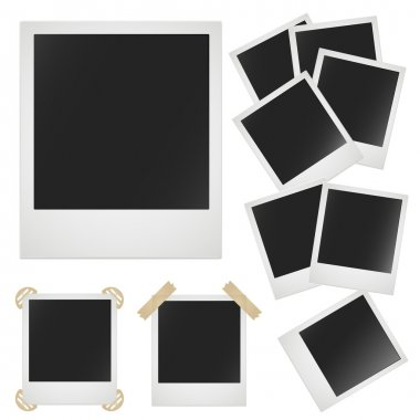 Polaroid photo frame on white background. Vector image
